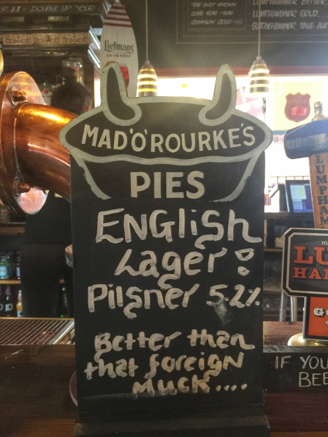 Mad O'Rourkes Pie Factory lager sign