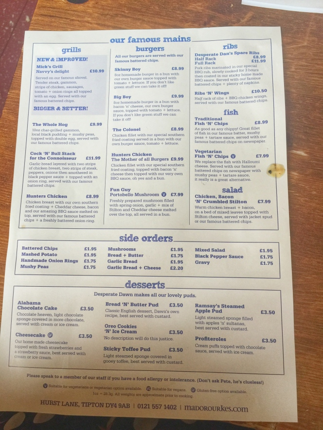 Mad O'Rourkes Pie Factory menu